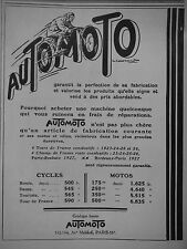 PUBLICITÉ 1928 AUTOMOTO  CYCLES MOTOS - ADVERTISING