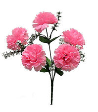 5 CARNATIONS ~ PINK ~ Silk Wedding Flowers Bridal Bouquets Centerpieces Decor
