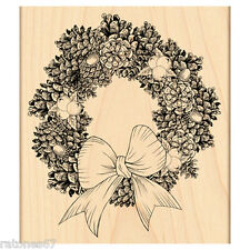 New Penny Black PINE WREATH Wood Rubber Stamp Christmas Bow Cones Holiday Winter