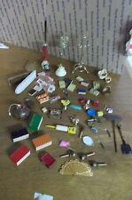 LOT OF MINIATURE DOLLHOUSE WOOD BRASS ACCESSORIES APPROXIMATELY 60 PIECES