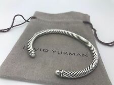 DAVID YURMAN Sterling Silver Cable Classic Bracelet Bangle Pearl and Diamond 5mm