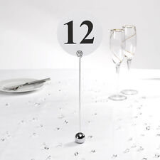 12 LOVELY CHROME ROUND BALL BASE WEDDING / PARTY TABLE NUMBER HOLDERS