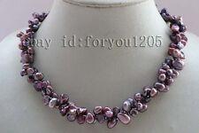 "18"" Double Natural 10mm Lavender Reborn Keshi Petal Pearl Necklace #f2437!"