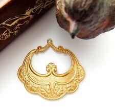BRASS (2 Pieces) OAK LEAF Stamping - Boho Hoops Gypsy Earrings Findings (D-10) `