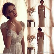 2017 Lace Vintage White Ivory Beach Bridal Gown Wedding Dress Custom Size 2-26+