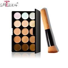 15 Colors Contour Face Cream Makeup Concealer Palette +Blush Powder Brush Set