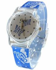 Core Girls Designer White Dial & Blue Strap with Butterflies Plastic Watch