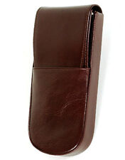 Aston American Cowhide Leather Hard-Sided Triple Pen Box, Brown