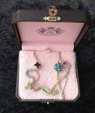NIB Juicy Couture New Genuine Long Gold Necklace With Pink, Blue & Diamanté Gems