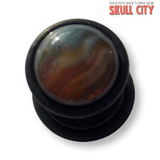 RED LINE AGATE BLACK GEMSTONE FAKEPLUG - Fake Piercing Stone Ohrstecker Achat