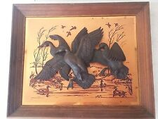 Vintage 1976 John Louw Copper Art 3D Sculpture Flying Ducks Wall Plaque Picture