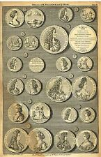 """Medals of K. William and Q. Mary"" from Rapin's HISTORY OF ENGLAND  Pl IV - 1745"