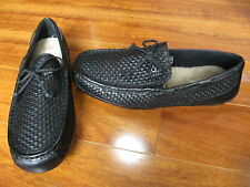 NEW UGG CHESTER WOVEN LEATHER/ SHEEPSKIN MOCCASIN LOAFERS MENS 12 BLACK $150.