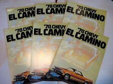 1978 Chevrolet El Camino Dealer Sales Brochure LOT (6) pcs, MINT