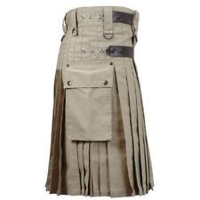 Men Khaki Deluxe Utility Modern Kilt Leather Straps 100% Cotton Handmade Custom