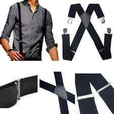 New Men's Black Elastic Suspenders Leather Braces X-Back Adjustable Clip-on Hot