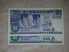 SHIP Series $1 Singapore old note (Running No)