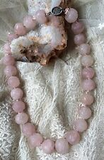 ANTIQUE CHINESE CARVED ROSE QUARTZ SHOU Large beads choker NECKLACE