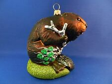 Beaver Glass Christmas Ornament Blown Tree Farm Animal Holiday Poland 011259