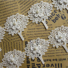 5pcs Tree Flowers Pearl Lace Edge Trim Wedding Ribbon Applique DIY Sewing Crafts