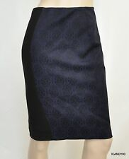 Nwt $188 Tahari HARPER Thick Stretch Jersey Knee Lined Skirt ~Black/Blue *8