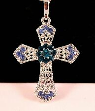 Blue/Green Rhinestone Silver Cross Pendant Necklace w/Free Jewelry Box/Shipping