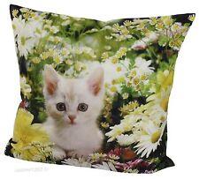 1 Kissenhülle Kissenbezug  Dekokissen  40 x 40 cm Katze /Blumen