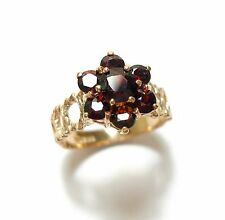 BEAUTIFUL OLD VINTAGE SILVER ROSE GOLD GILT & GARNET TREE BARK DESIGN RING (C9)