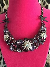Betsey Johnson Celestial Moon Starburst Star Violet Purple Crystal Necklace RARE