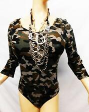Heart hips green/brown military camo scoop neck plus size body suit top 3X