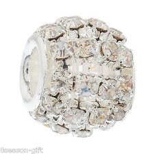10 Hollow Clear Rhinestone Beads Fit Charm Bracelet