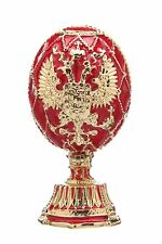 Faberge Egg Russian Coat of Arms & Church of the Savior on Blood 2.6'' 6.5cm red