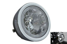 "BLACK 6.5"" 6 1/2"" 12V 35W Project Retro Motorbike Headlight with LED Halo Ring"