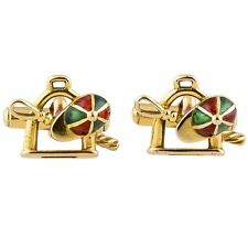 GUCCI Estate Enamel & 18K Gold Equestrian Motif Cufflinks