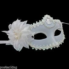 White Plain Adult Mardi Gras Venetian Masquerade Party Face Eye Mask Halloween