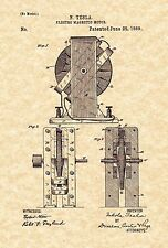 Patent Print - Nikola Tesla Electro Magnetic Motor 1889. Ready To Be Framed!