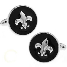 mens Round Black Fleur de lis Wedding Party shirt Cufflinks cuff links