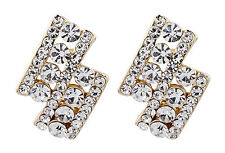 CLIP ON EARRINGS - gold plated luxury stud earring with clear crystals - Esme C