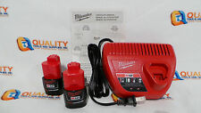 New 2 (Two) Milwaukee M12 Li-Ion Red Lithium 12V  Battery 48-11-2401 & Charger
