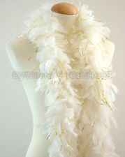 """45g 52"""" long White w/ Gold Tinsels chandelle feather boa diva night, Wedding"""