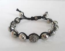 New TAI Grey Crystal Disco Ball Sterling Silver Bead Adjustable Cord Bracelet