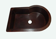 28 Copper Kitchen Mexican Sink Rectangular Curved Single Well Drop In
