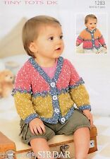 1283 - SIRDAR SNUGGLY TINY TOTS DK CARDIGAN KNITTING PATTERN - TO FIT 0 TO 7 YRS