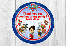 35 x Personalised Paw Patrol Birthday Party Stickers Thank You Seals