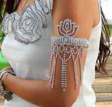 BELLY DANCE RHINESTONE UPPER ARM , BRACELET, FOOT ANKLET LOTUS FLOWERS