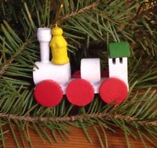 Wood Holiday Steam Train Engine Christmas Ornament Decoration Vintage