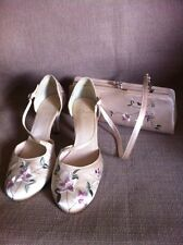 Clarks Size 4 1/2 Satin Occasion Heels And Matching Purse