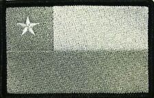 CHILE  Flag Patch With VELCRO® Brand Fastener White & Gray. Black Border #11