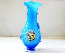 Vintage Blue and White Ruffle Vase with Murano Glass Flower Design