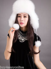 Real Fur Russian Trapper Hat Womens Mens Ear Warm Winter Beret Cap Earflap Hat